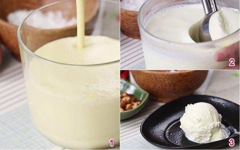 Cho hỗn hợp kem dừa vào tủ lạnh để khoảng 6 tiếng