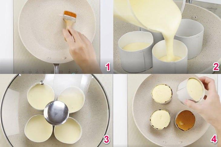 Cho bột vào chảo chống dính và nướng trong 8 phút, sau đó trở ngược bánh bông lan lại