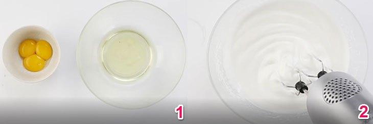 Dùng máy đánh trứng đánh bông lòng trắng trứng