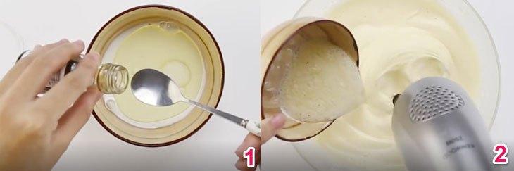 Cho sữa tươi, dầu ăn và vani vào 1 cái chén và trộn đều lên, sau đó, cho bột vào hỗn hợp và đánh đều với tốc độ thấp nhất.