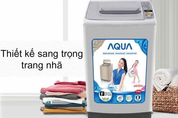 Thiết kế của máy giặt Aqua trang nhã góp phần làm đẹp thêm không gian nhà bạn