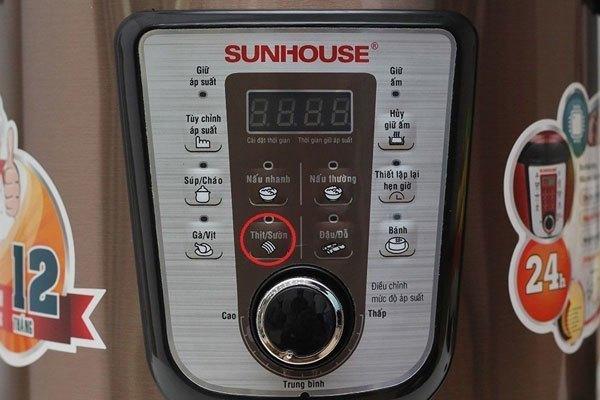 Chọn chế độ Hầm/Xương của nồi áp suất Sunhouse