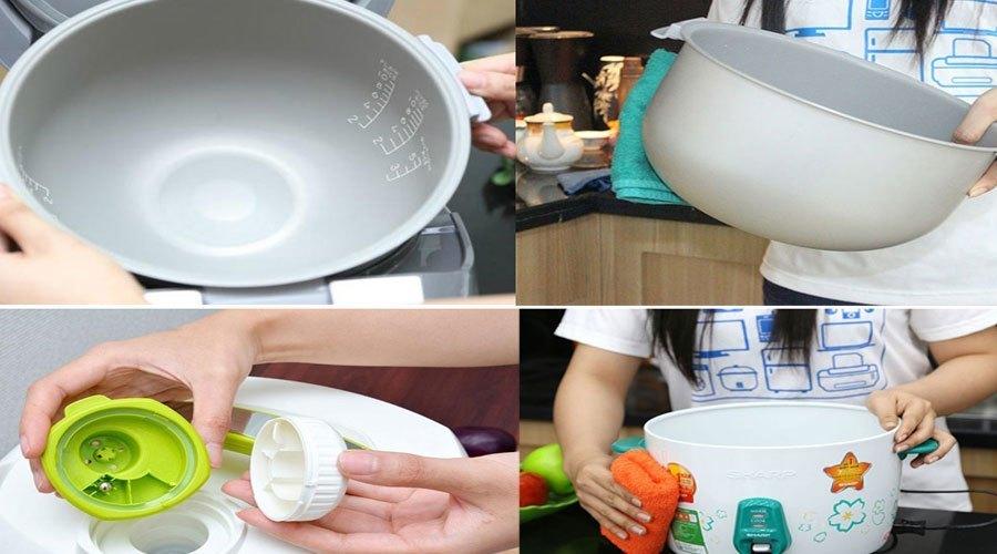 Dùng khăn mềm để lau chùi vỏ nồi, tránh để nước rớt vào mâm điện