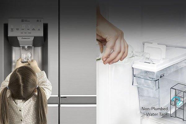 Lấy nước đá nhanh chóng chỉ với 1 thao tác trên tủ lạnh LG GR-P247JS