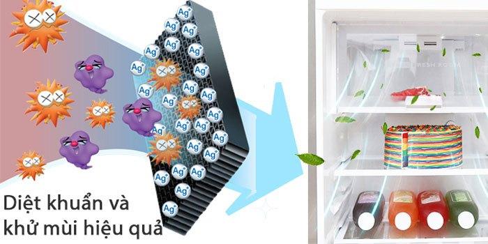 Nhờ các phân tử Ag+, vi khuẩn sẽ không dám bén mảng đến tủ lạnh Sharp nhà bạn