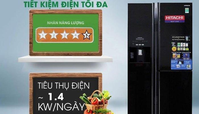 Bạn có thể chọn mua những chiếc tủ lạnh side by side Inverter như Hitachi 584 lít R-M700GPGV2 để tiết kiệm điện năng hiệu quả