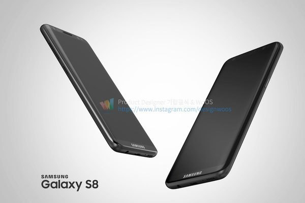 Logo Samsung thay thế cho phím Home vật lý ở vị trí bên dưới màn hình điện thoại