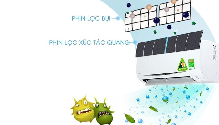 Máy lạnh Daikin diệt khuẩn với phin lọc xúc tác quang Apatit Titan