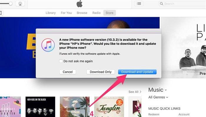 Nâng cấp hệ điều hành iOS 10.3.3 - phiên bản nâng cấp cuối cùng của hệ điều hành iOS 10 qua iTunes bằng cách kết nối điện thoại iPhone với máy Mac hoặc PC.