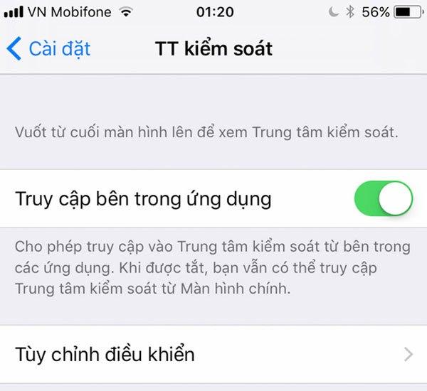 Apple cho phép người dùng kiểm soát Control Center trên hệ điều hành iOS 11 Beta 2 của điện thoại iPhone