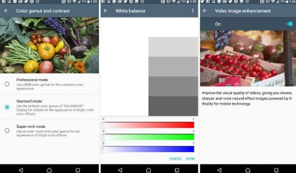 Màn hình Triluminos của điện thoại Sony Xperia XZ Premium có thể được điều chỉnh màu sắc theo ý muốn của bạn
