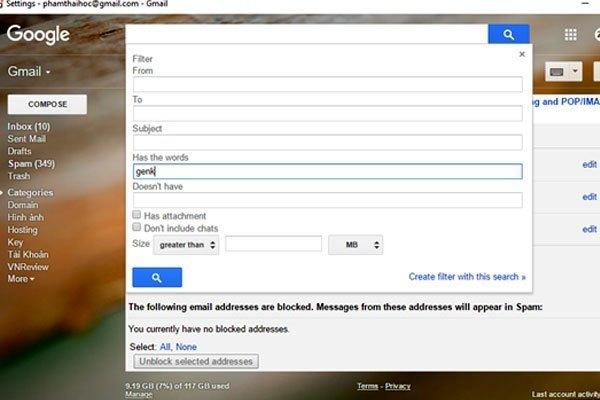 """Sau khi đã khởi tạo, hộp thoại xuất hiện với các dòng thiết lập gồm địa chỉ người gửi (From), người nhận (To), tiêu đề email (Subject) và từ khóa (Has the words). Bạn sẽ nhập từ khóa cần lọc vào """"Has the words"""" và sau đó bạn hãy nhấp vào dòng lựa chọn """"Create filter with this search"""""""