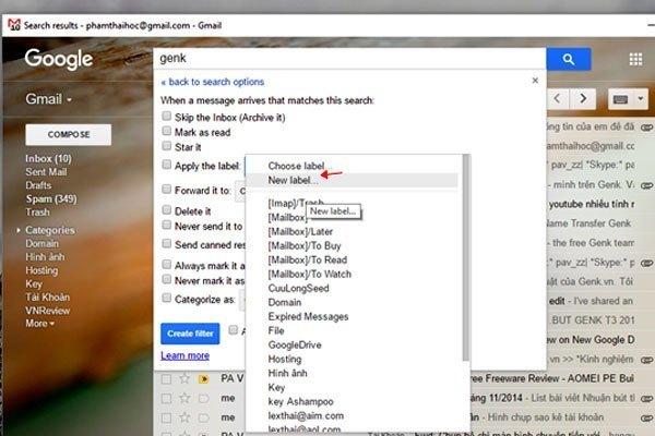"""Chọn dòng """"Apply the label"""" và chọn """"New label"""" để """"dán nhãn"""" cho các email chứa từ khóa"""