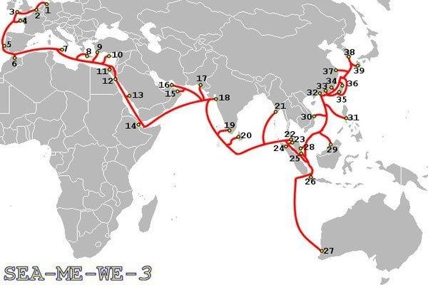 Tuyến cáp quang Biển SEA-ME-WE 3 mà bị đứt thì bạn sẽ phải ngưng mọi hoạt động liên quan đến Internet quốc tế