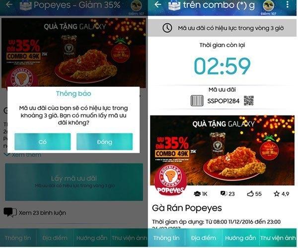 Chụp lại mã trên màn hình điện thoại, máy tính bảng Galaxy của Samsung và đưa cho nhân viên bán hàng để xác nhận