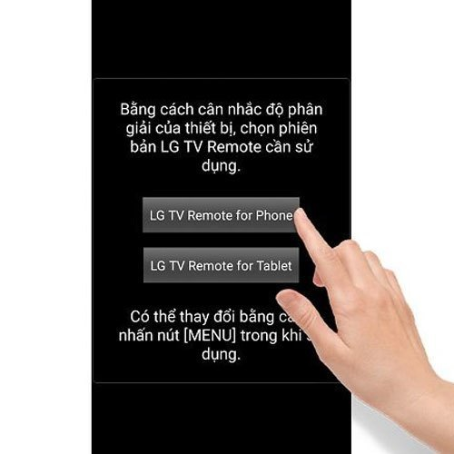 Chọn giao diện dành cho điện thoại khi ứng dụng hiện yêu cầu