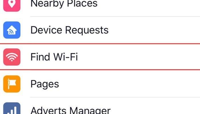Tính năng tìm kiếm WiFi của Facebook trên điện thoại