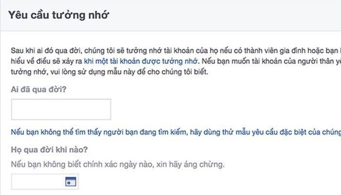 """Dùng điện thoại bấm vào mục """"yêu cầu tưởng nhớ"""", Facebook sẽ tiến hành tưởng nhớ"""