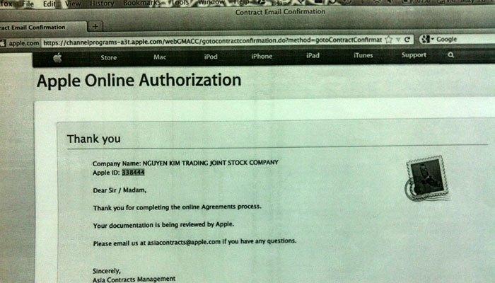 Hợp đồng online của Nguyễn Kim và Apple