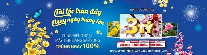 Khách hàng mua sắm điện thoại di động, máy tính bảng Samsung tại hệ thống Nguyễn Kim trên toàn quốc từ ngày 05 đến hết 26/01/2017 sẽ được tham gia quay số trúng thưởng