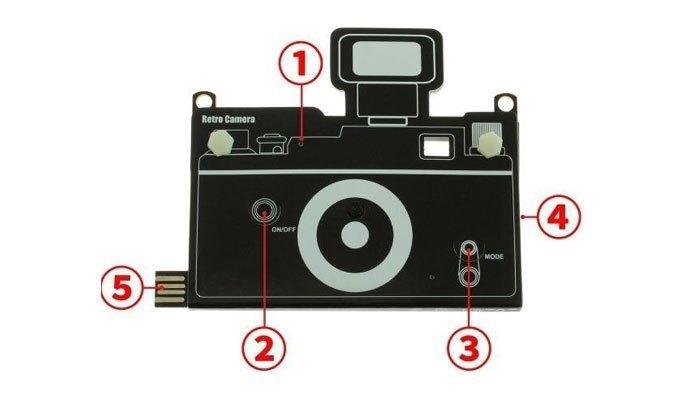 Retro Camera với một nút bấm duy nhất cùng các bộ phận khác như bao máy ảnh bình thường