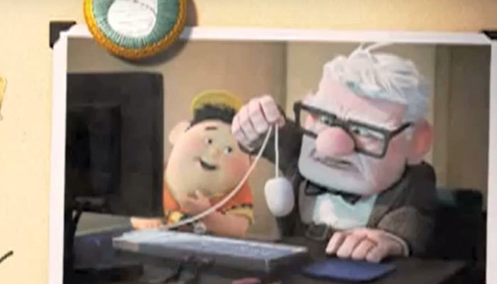2 ông cháu trong Up đã trao đổi cho nhau con chuột Apple hiện đại