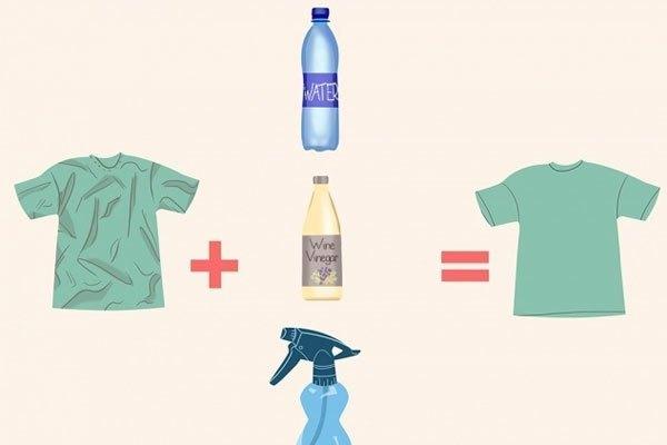 Bạn có thể dùng giấm và nước để thay thế bàn ủi