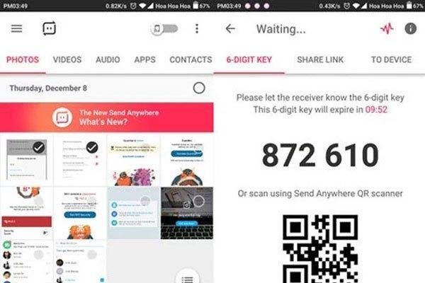 Lựa chọn tập tin cần gửi trên điện thoại iPhone và ứng dụng sẽ tạo ra 6 con số hoặc mã Code để bạn xác nhận