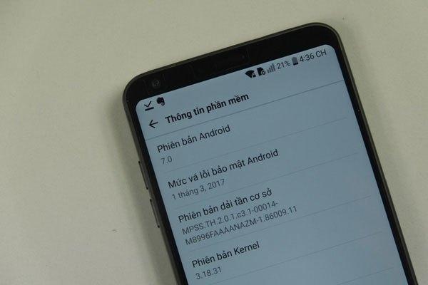 Điện thoại LG G6 sử dụng phiên bản Android đi kèm là 7.0 Nougat