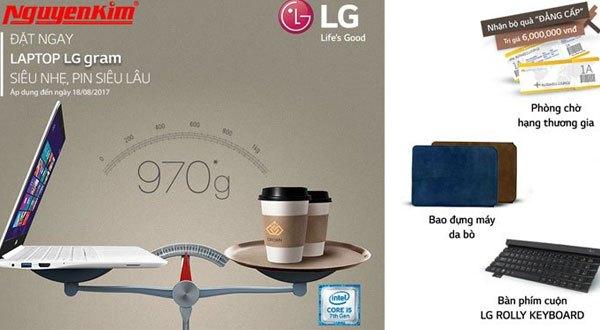 Những phần quà hấp dẫn sẽ dành cho khách hàng đặt trước mẫu laptop LG Gram tại Nguyễn Kim