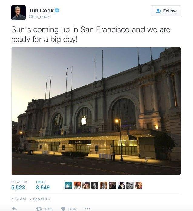 Tim Cook thông báo sự kiện ra mắt iphone 7 tại San Francisco