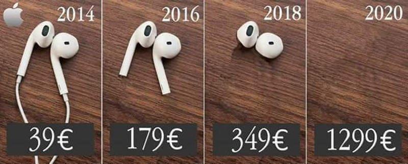 tai nghe apple qua dòng thời gian