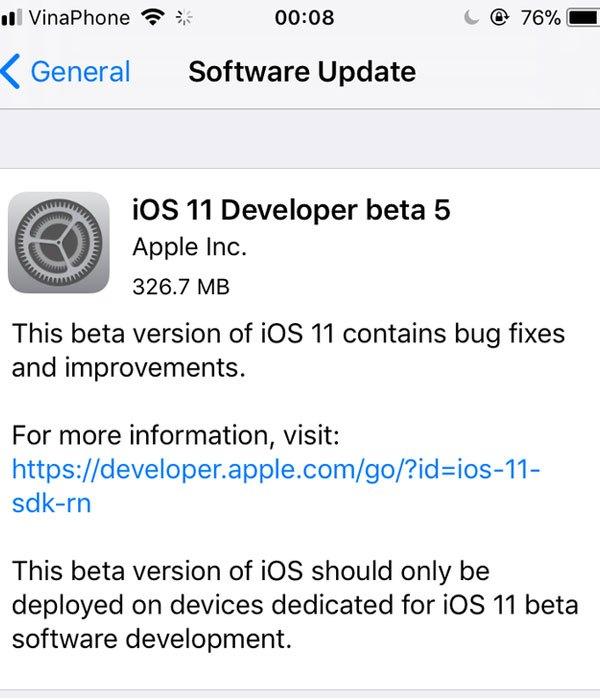Phiên bản iOS 11 Beta 5 đã được gửi đến điện thoại iPhone của người dùng