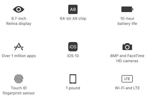 Thông số của máy tính bảng iPad 9.7 inch