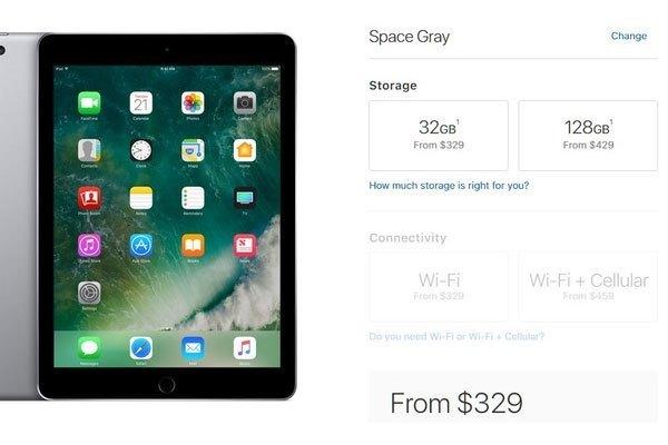 Máy tính bảng iPad sở hữu giá bán 329 USD cho phiên bản 32 GB