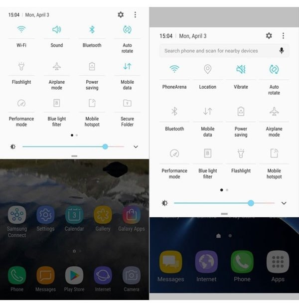 """Thanh thông báo của điện thoại Galaxy S8 được thiết kế nhỏ hơn so với """"đàn anh"""""""
