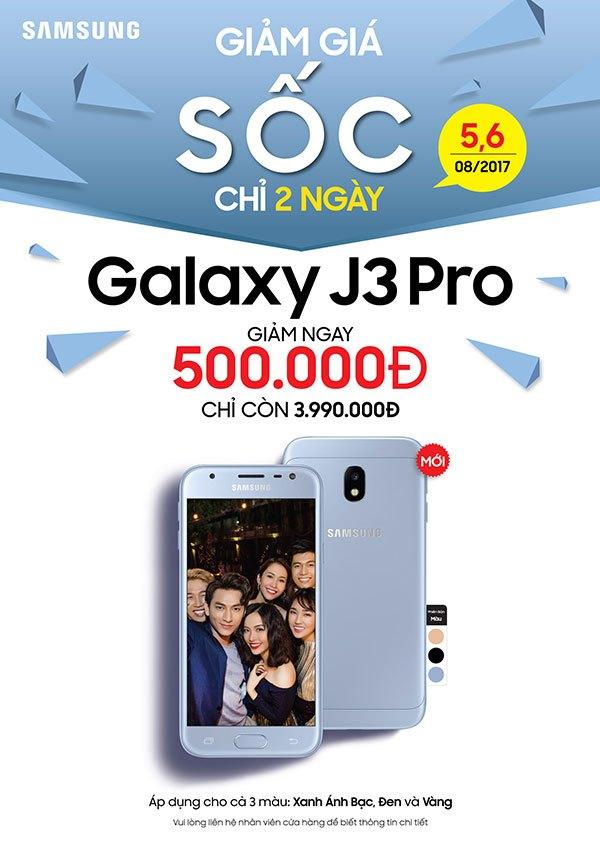 Ưu đãi đặc biệt dành cho khách hàng khi mua điện thoại Galaxy J3 Pro vào 2 ngày 5,6/08