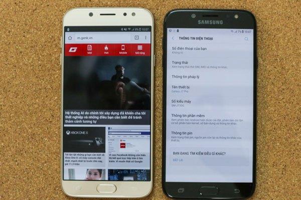 Hệ điều hành Android 7 mới nhất được trang bị cho chiếc điện thoại Galaxy J7 Pro này.