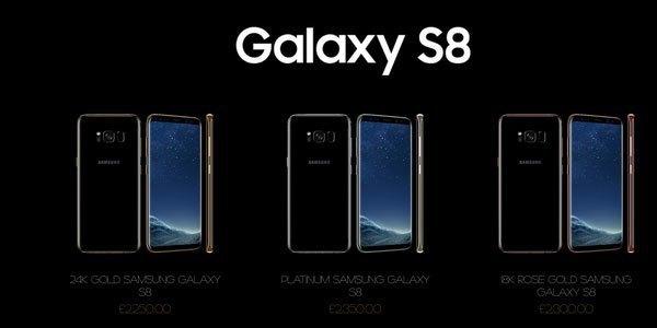 Hình ảnh của chiếc điện thoại Galaxy S8 và giá thành đối với các phiên bản thời thượng