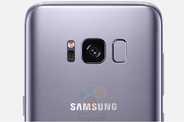 Cảm biến vân tay đặt ở phía sau bên cạnh cụm camera điện thoại Galaxy S8 và S8 Plus