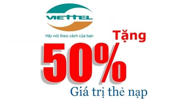viettel khuyến mãi tặng 50% giá trị thẻ nạp duy nhất ngày 16/09