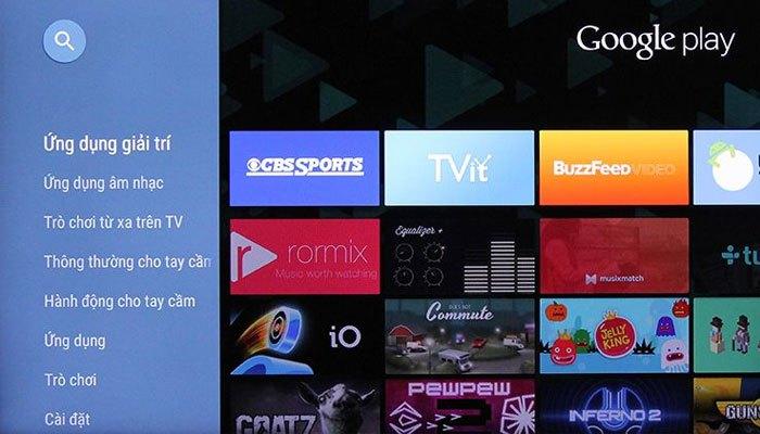 Google Play mang đến kho ứng dụng phong phú cho chiếc Smart tivi