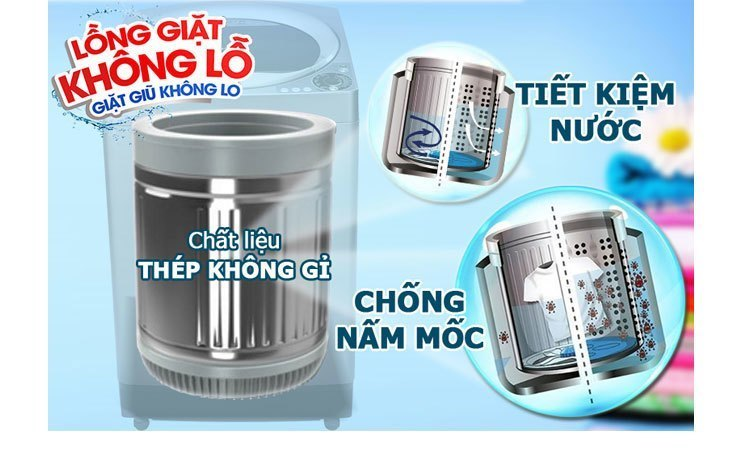 Máy giặt Sharp ES-U72GV-G lồng giặt không lỗ tiết kiệm nước