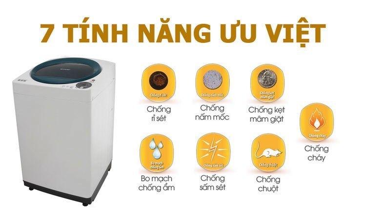 Máy giặt Sharp ES-U72GV an toàn khi sử dụng