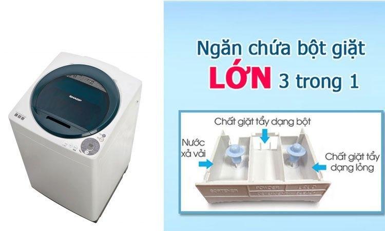 Máy giặt Sharp ES-U72GV-G ngăn chứa bột giặt tiện lợi