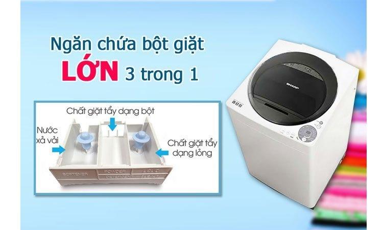 Máy giặt Sharp ES-U72GV-H ngăn chứa bột giặt tiện lợi