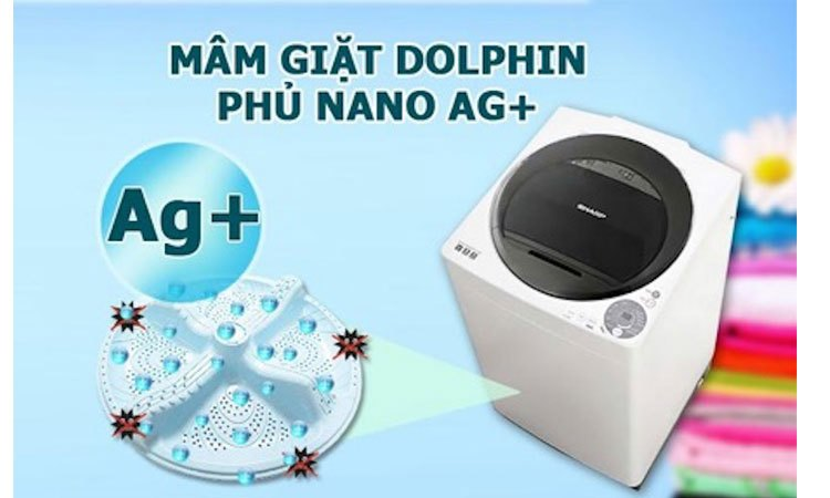 Máy giặt Sharp ES-U80GV-G diệt sạch mọi vi khuẩn