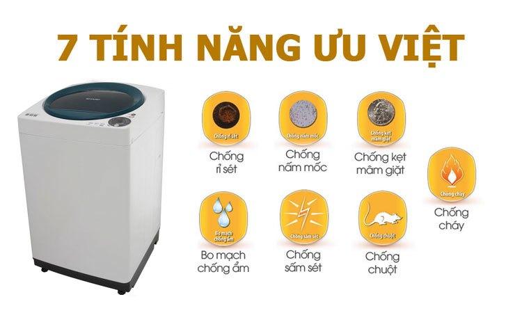 Máy giặt Sharp ES-U80GV-G đảm bảo an toàn khi sử dụng