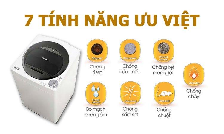 Máy giặt Sharp ES-U80GV-H đảm bảo an toàn khi sử dụng