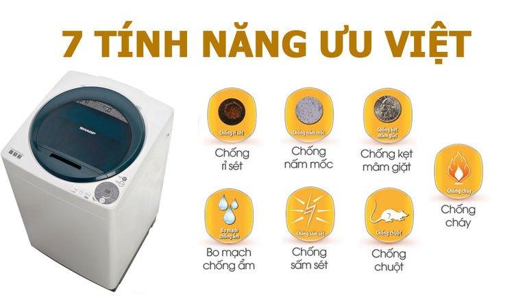 Máy giặt Sharp ES-U82GV-G đảm bảo an toàn khi sử dụng